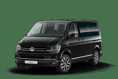 Vorder- und Seitenansicht vom VW T6 Multivan Highline in deep black