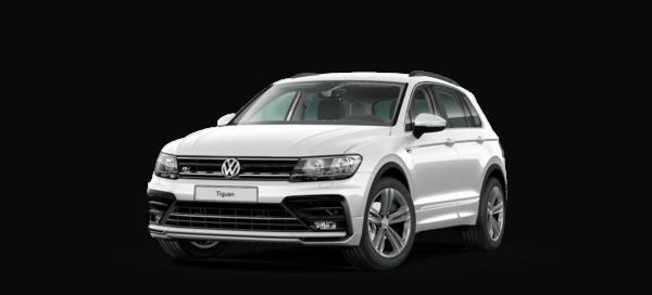 Vorderansicht von VW Tiguan R Line in silber